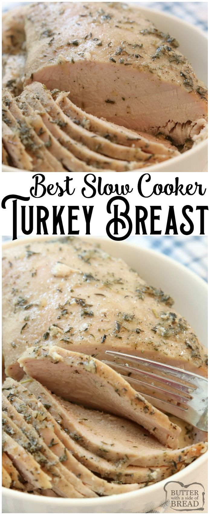 Easy Slow Cooker Turkey Breast recipe made with butter, a sliced apple and a basic mix of traditional seasonings. Crock pot turkey breast recipe perfect for any time of the year! #slowcooker #crockpot #turkey #turkeybreast #protein #recipe #dinner #food from BUTTER WITH A SIDE OF BREAD #fallrecipesdinner