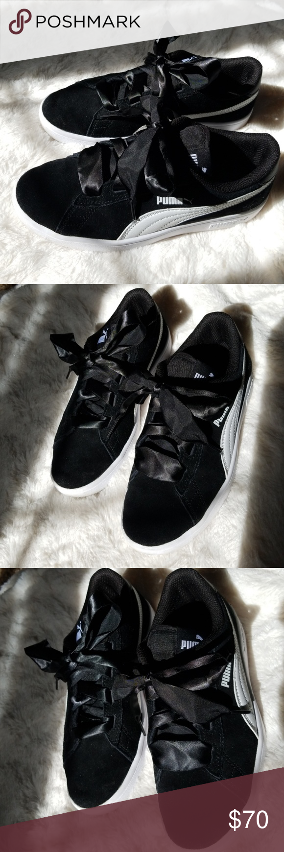 Puma ribbon sneakers Worn once, size 4