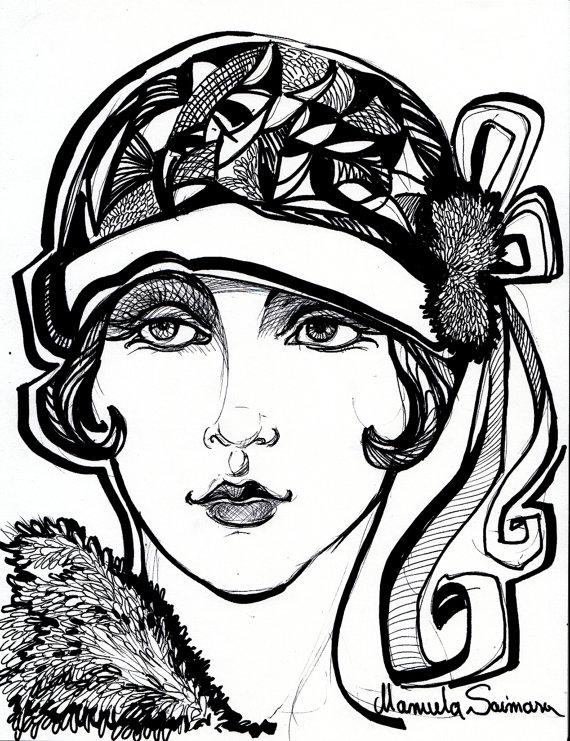flapper girl art deco print downton abbey style 1920s art fashion 1920s French Girls flapper girl art deco print downton abbey style 1920s art fashion illustration woman portrait drawi