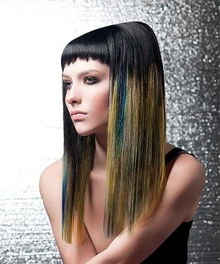 A long brown straight coloured multi-tonal rock-chick smooth ...