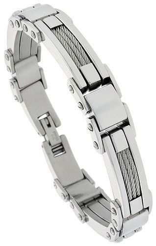 Gent S Stainless Steel Cable Bar Bracelet 1 2 Inch Wide 9 Inch Long Bracelets For Men Cable Bracelets Bracelets