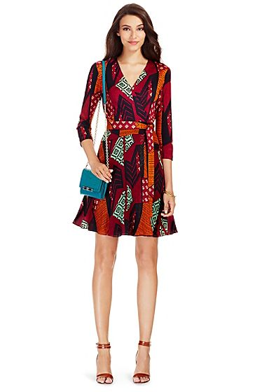 237eed463679d Irina Silk and Chiffon Combo Wrap Dress In Ethnic Collage | Diane ...