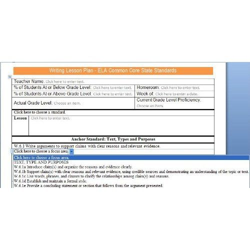 Ela Grades 6 8 Common Core Lesson Plan Templates With Standards