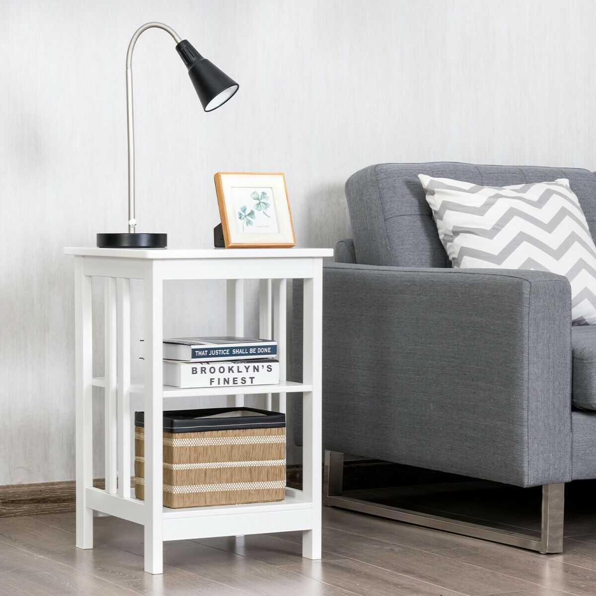 3 Tier Nightstand Side Table With Baffles And Corners White Sofa End Tables End Tables Modern Side Table