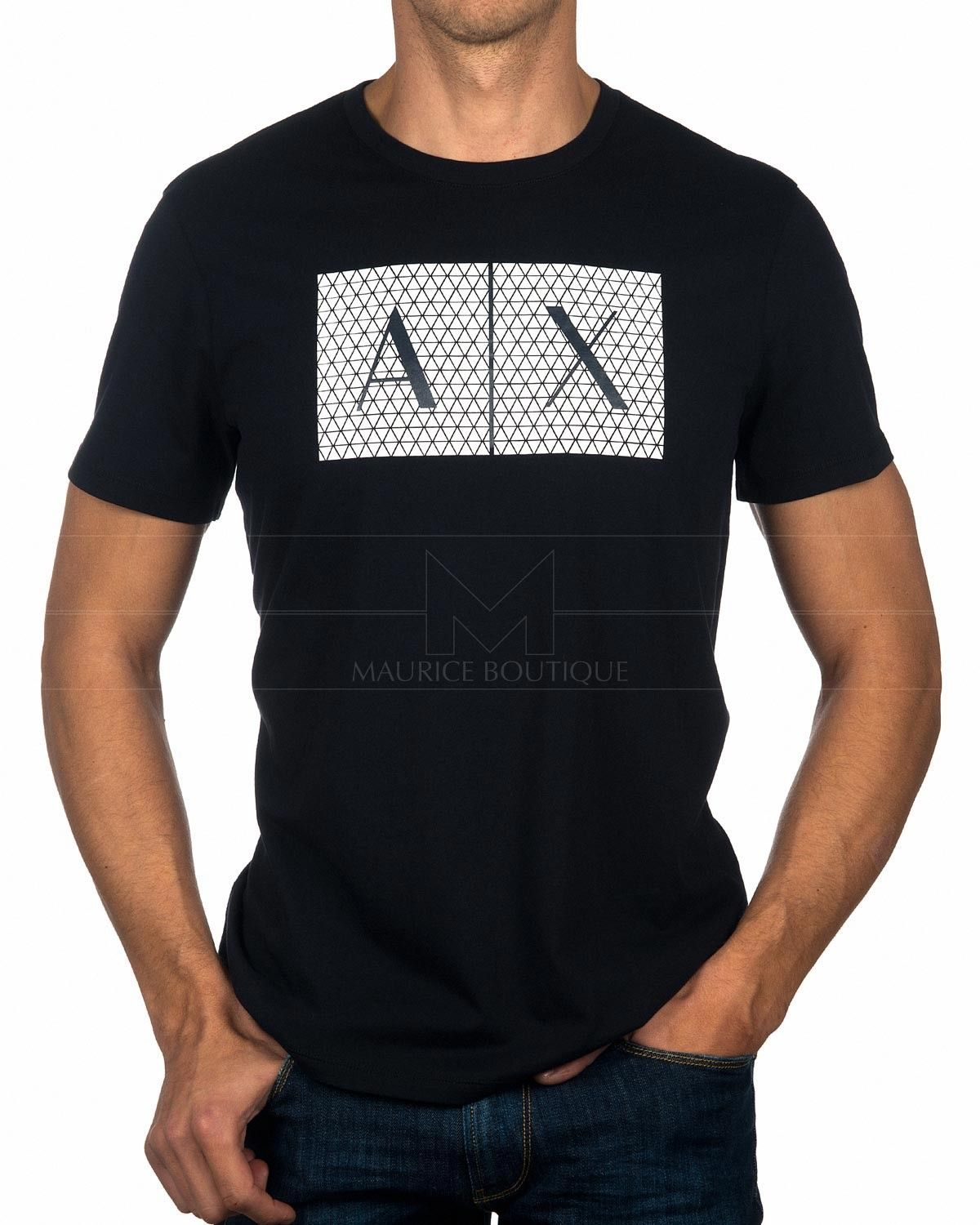 be5562b5a59 Camiseta ARMANI EXCHANGE ® Negra   Blanco