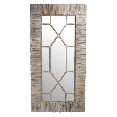 Privilege International Rectangular Wood Wall Mirror With