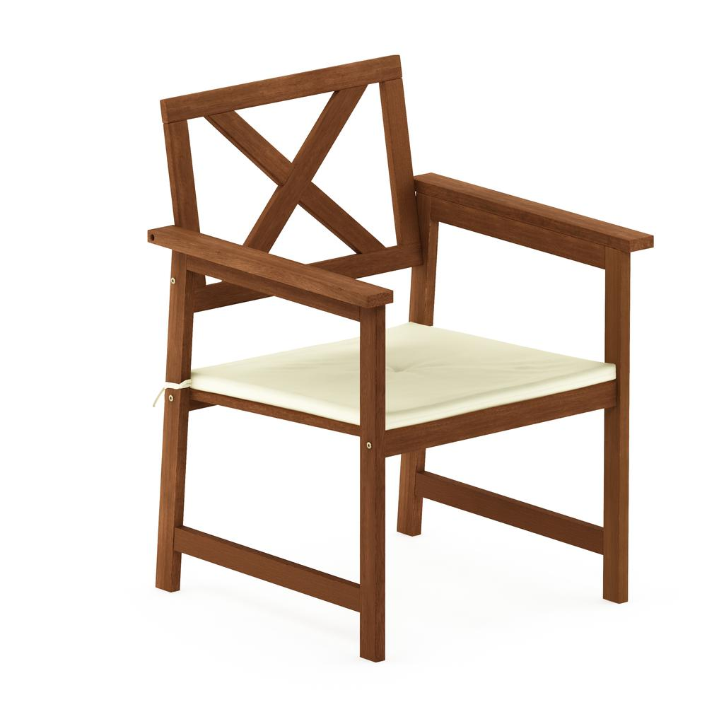 Tioman Hardwood X Back Arm Chair In Teak Oil With Cushion Teak Oil Havenside Home Patio Dining Chairs