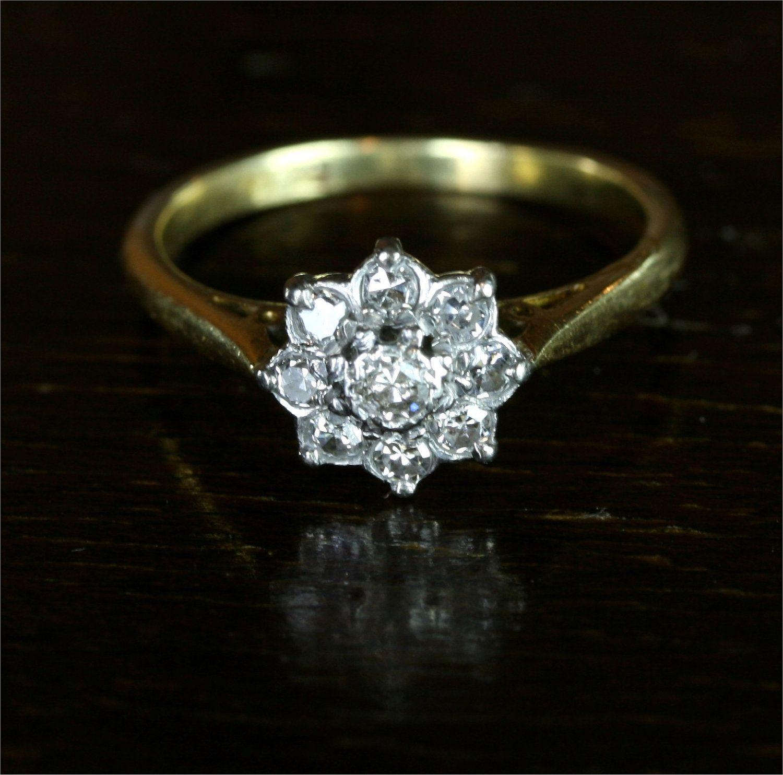 Edwardian flower cluster diamond engagement ring 18k
