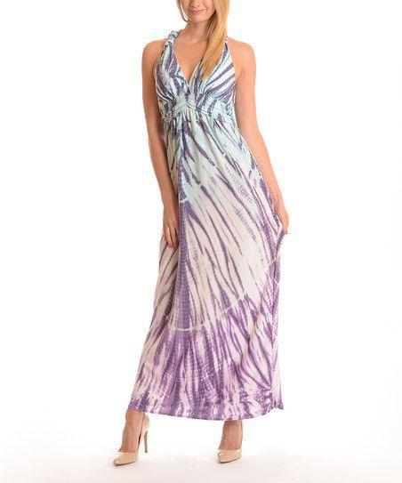 Shoreline Purple Tie-Dye Halter Dress - Plus   zulily