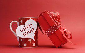 Valentine & #39; s dia, com amor, romance, corações, Copa, presente, presente, curvar