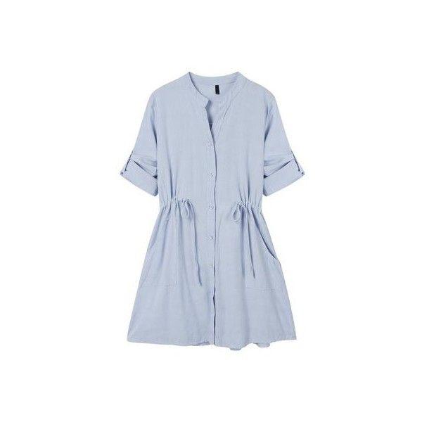 Women Casual Slim Drawstring V Neck Mini Shirt Dress (39 CAD) ❤ liked on Polyvore featuring dresses, blue dress, blue mini dress, long sleeve shirt dress, shirt dresses and mini dress