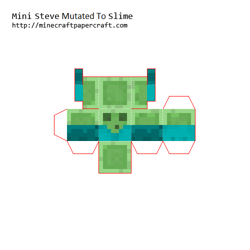 Papercraft Mini Steve Mutated To Slime Paper Crafts Minecraft Crafts Mini