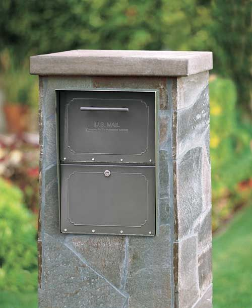 High Security Locking Column Mailbox Insert Outside
