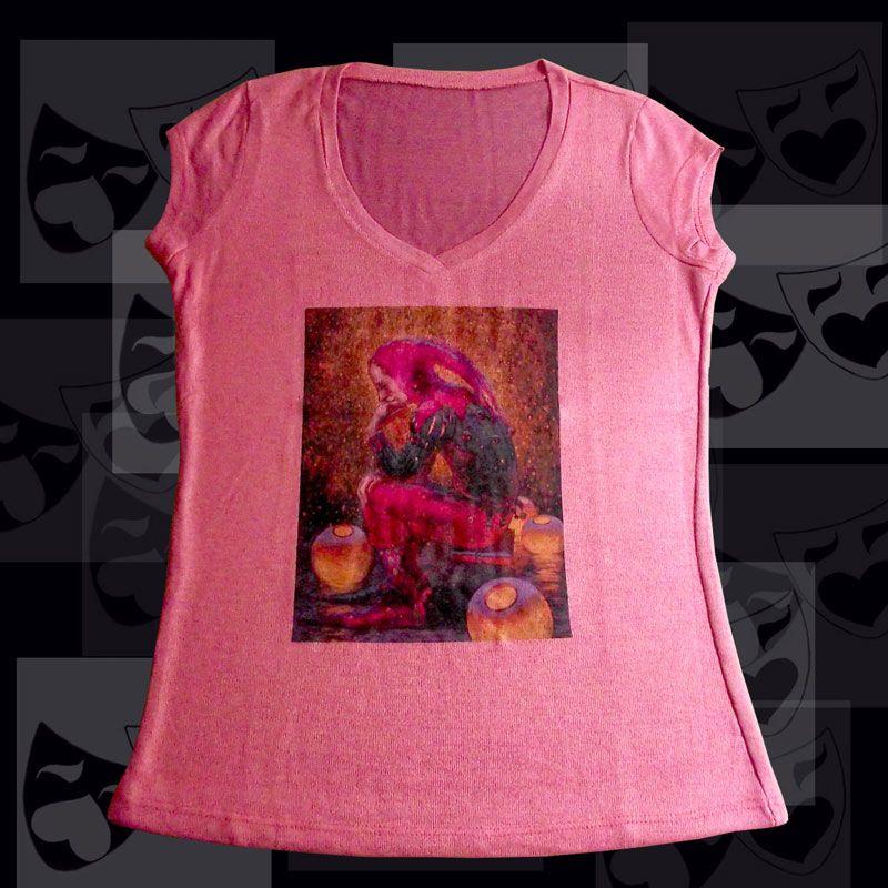 TEATRO Arlequim 2 Personagem Arlequim da Commedia dell'Arte. Camiseta Feminina Malha Tricot Viscofit Stretch Heavy Composição: Elastano: 4% Poliester: 96%