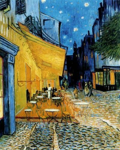 Terraza De Café Por La Noche Que Representa