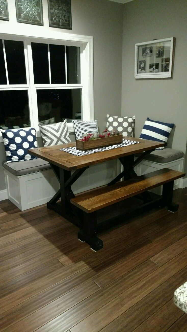 my husband built this table and bench seating for my nook area. i