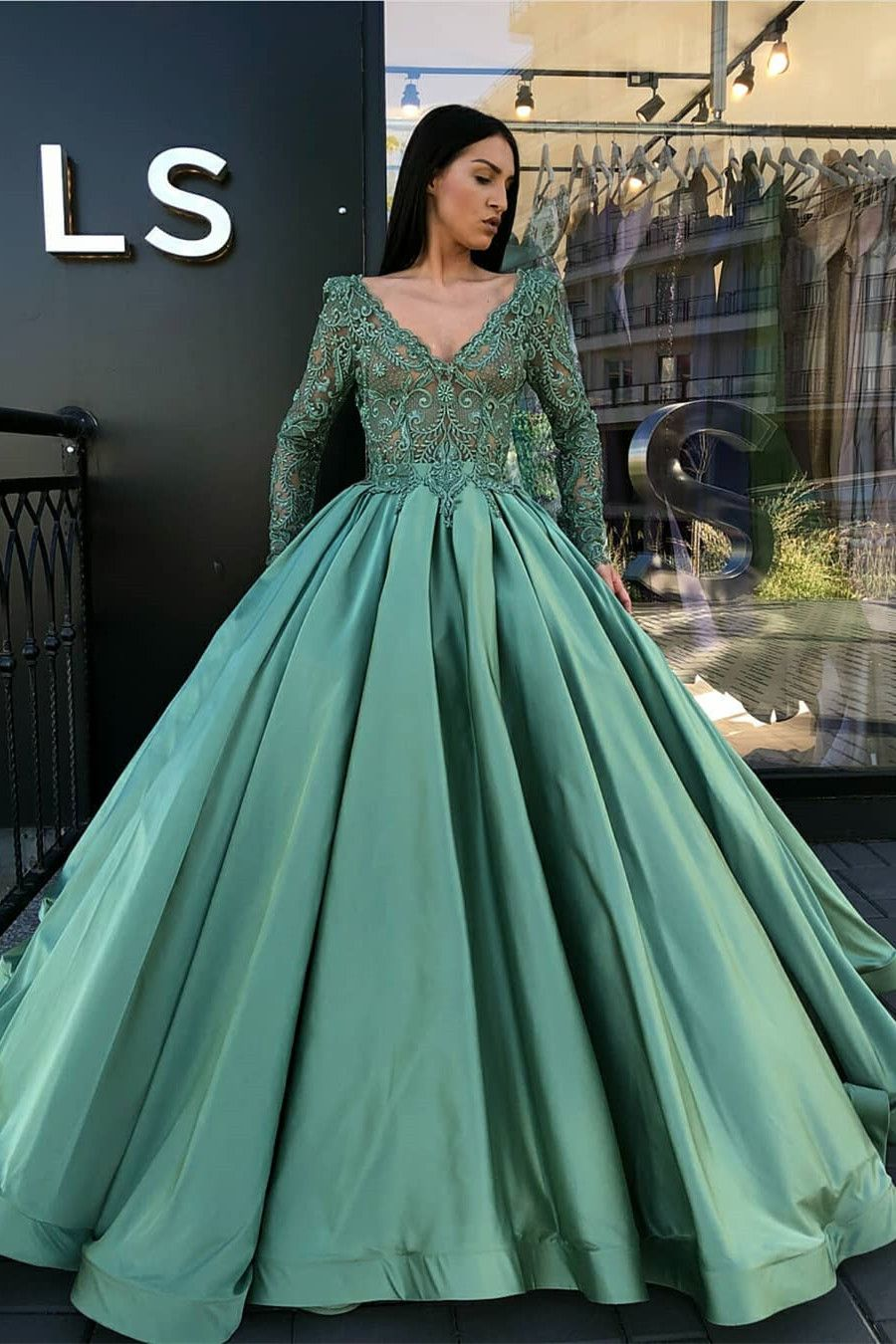 modest v-neck green quinceanera dresses with long sleeves 0e0f76732