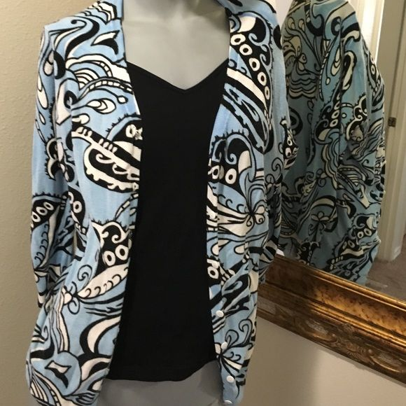 Pretty paisley print sweater Wear over something open or just button up and wear as one sweater worn a few times. Good condition. RED Sweaters
