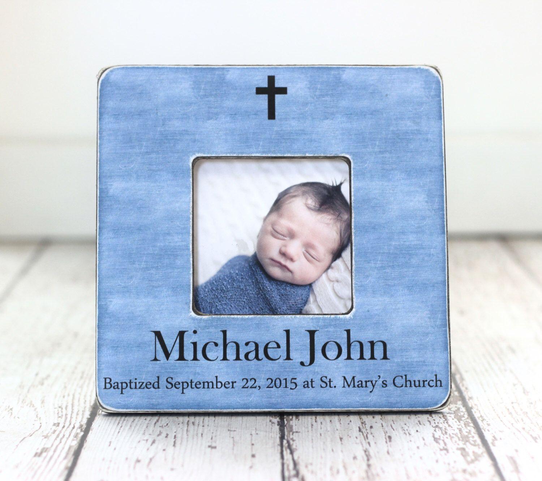 Baptism Gift for Boy Personalized Picture Frame Godchild Godson ...