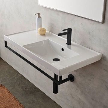 Photo of Rectangular White Ceramic Drop In or Wall Mounted Bathroom Sink