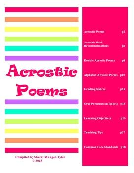 Acrostic poetry for middle school grades 6 7 8 tpt language heres an exciting 19 page mini unit on acrostics that includes 19 poems notes about authors craft a writing assignment 2 grading rubrics fandeluxe Image collections