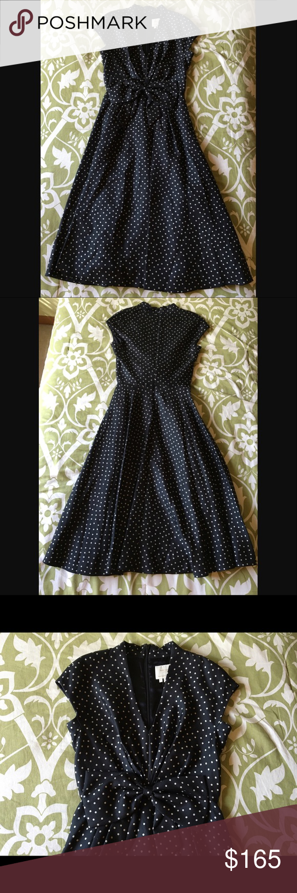 Kate Spade Freesia Dot Dress Polka dots, waist-hugging construction, and a swingy skirt give this kate spade new york dress time-honored appeal. Black with cream polka dots. V neckline; cap sleeves. Knotted, gathered at natural waist. Pleated A-line skirt. Cotton/silk; acetate satin lining. Imported. Non Smoking home with one dog. Tacking thread on one corner of the bow came out, (pictured) easy fix but not noticeable if it is not fixed. kate spade Dresses Midi