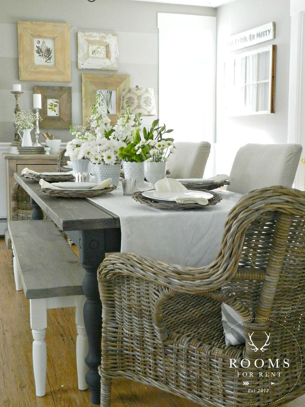spring decor, milkglass centerpiece, farmhouse dining room | rooms