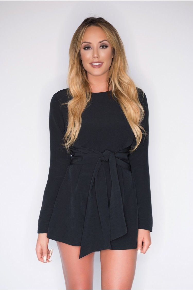 ab697658a4c Charlotte Crosby Navy Tie Front Playsuit