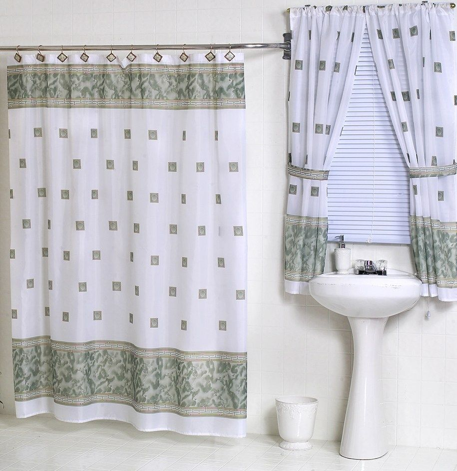 Fabric Shower And Window Curtain Sets Bathroom Window Curtains