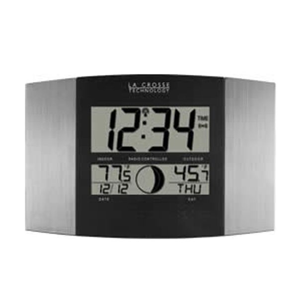Impress Everyone Who Steps Into Your Office With This High Tech Atomic Digital Wall Clock This Clock With 12 Different Moon Phases And In Out Atomic Wall Clock Clock Outdoor Clock
