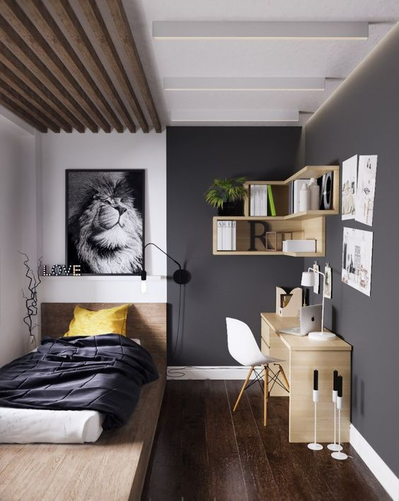Bedroom Grey Wall Wood Interior / Exterior Pinterest - recamaras modernas juveniles para mujer