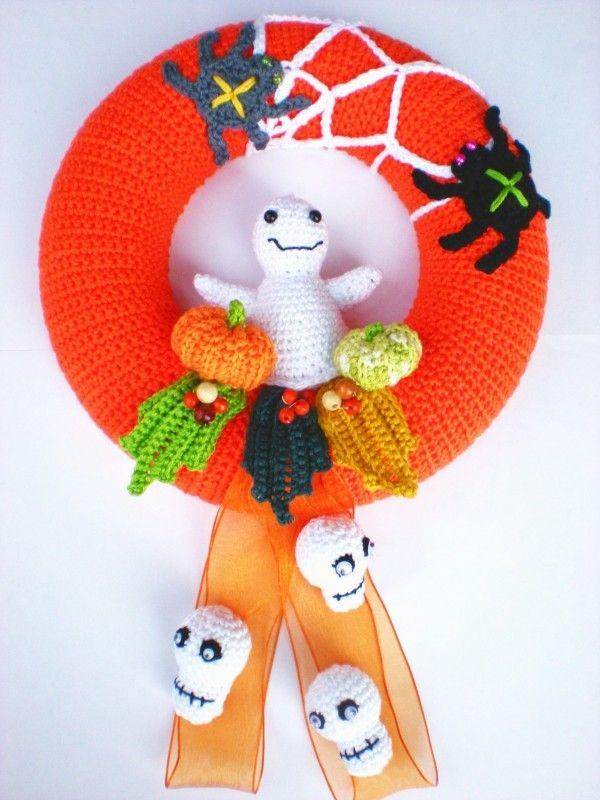 Halloween Deko Türkranz Wolle Pinterest Halloween Deko