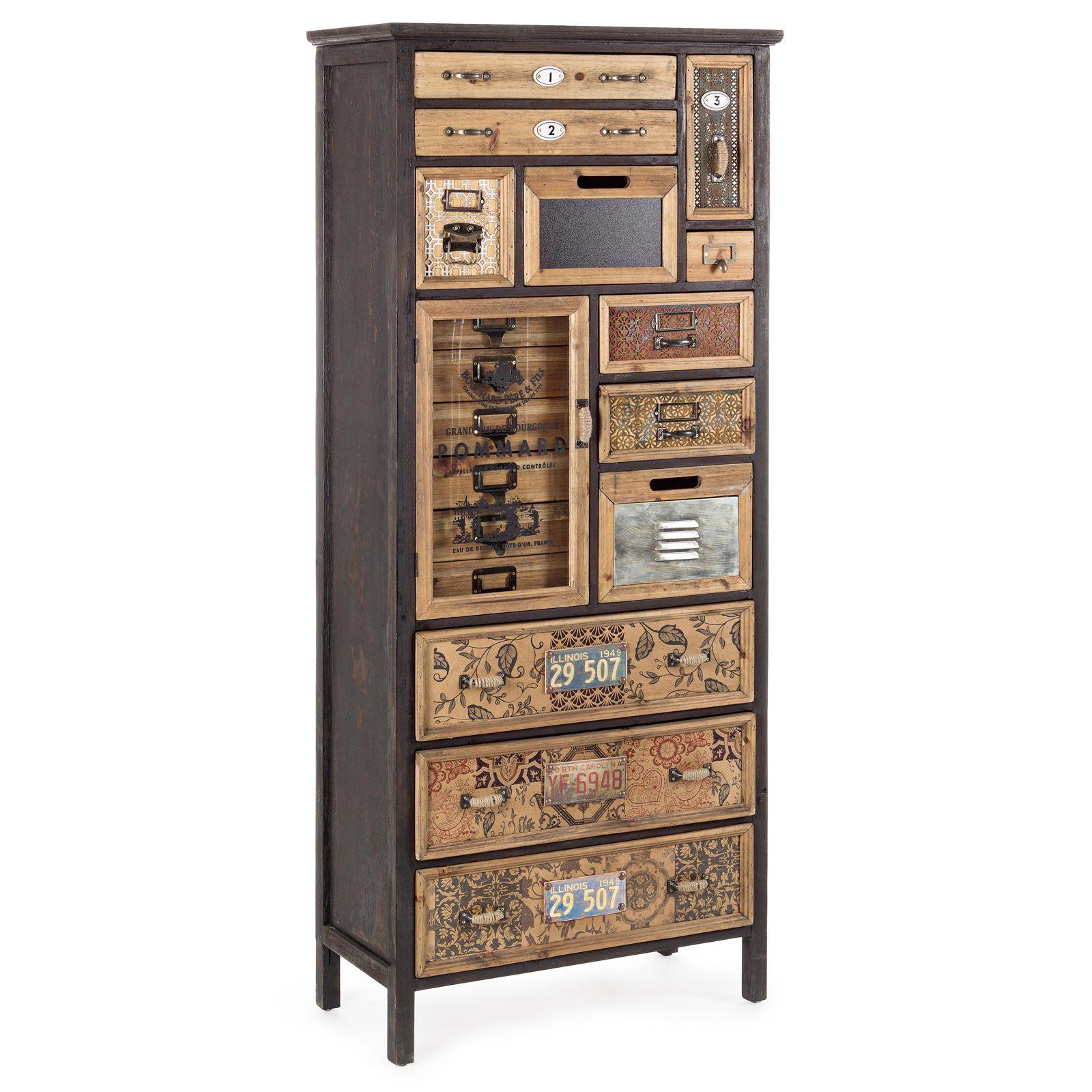 Cassettiera arredo industriale 1 anta 12 cassetti in legno