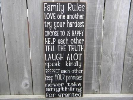 Vintage Style Family Rules Typography Word Art Sign by Wildoaks, $25.00