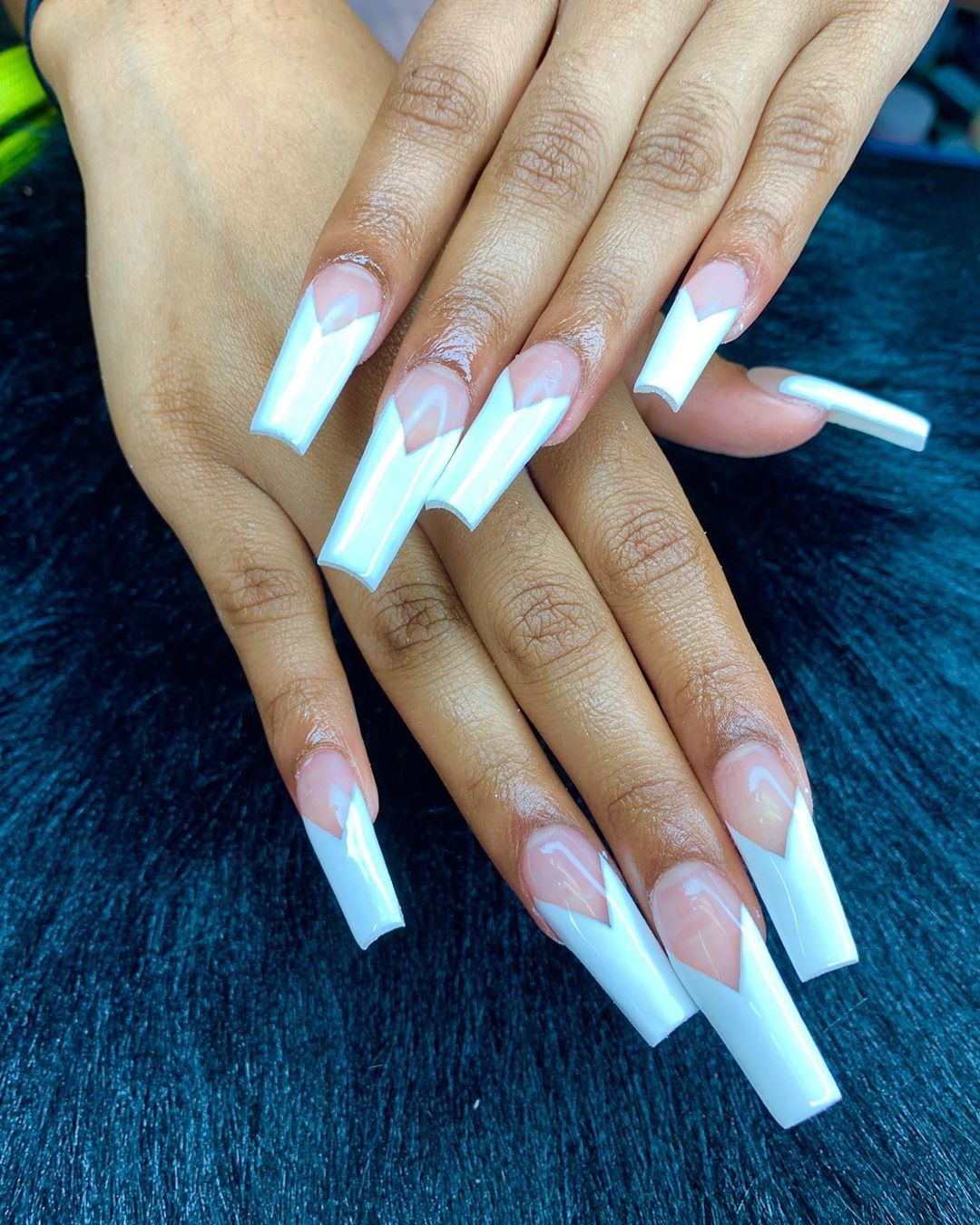 Jahari On Instagram Diamond French Tip Blacknailtech Atlnailtech Nailsofinstagram Nailart Nail Ambre Nails Long Acrylic Nails French Acrylic Nails