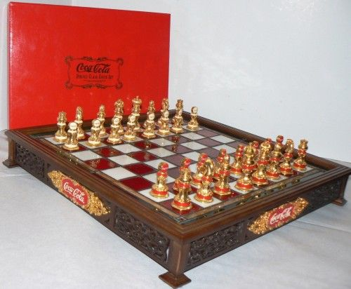Franklin Mint Coca-Cola Stained Glass Chess Set Accented with 24K gold