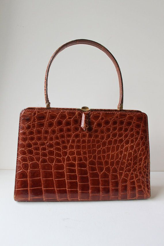 Vintage Crocodile Leather Handbag Made In France From By Foxbride 295 00