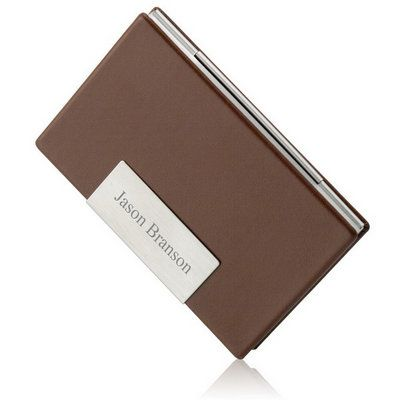 Brown leather personalized business card case option 2 2695 brown leather personalized business card case option 2 2695 colourmoves