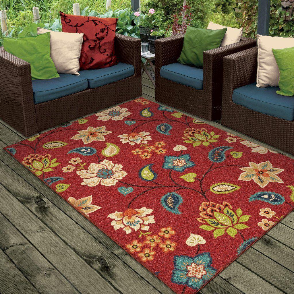 Amazon Com Orian Rugs Indoor Outdoor Floral Garden Chintz Red Area