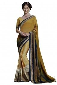 Chiffon and Raw Silk Party Wear Saree in Mustard Yellow Colour