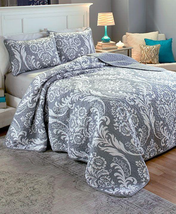 Bedroom Curtains Ikea Uk 4 Bedroom Apartment Layout Bedroom Design With Carpet Blue Victorian Bedroom: Como Damask Quilt Sham Bedding Set Cover Reversible Solid