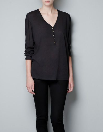 BUTTON NECK T-SHIRT - T-shirts - Woman - ZARA United States