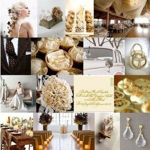 Champagne, gold, and brown color palate