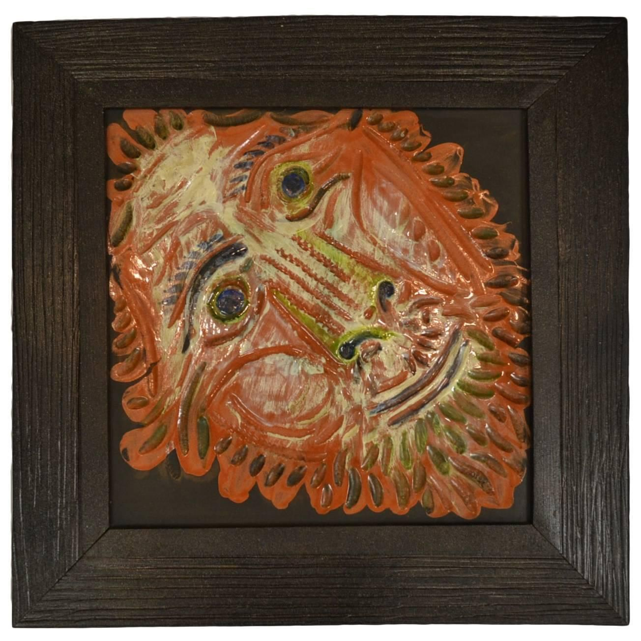 Large Tete-de-lion (Lion's Head) Madoura Pottery Tile (Ar 575) by Pablo Picasso | From a unique collection of antique and modern sculptures at https://www.1stdibs.com/furniture/decorative-objects/sculptures/