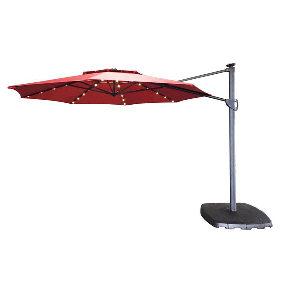 Simply Shade Red Offset Patio Umbrella With Base (Common: 11 Ft W X
