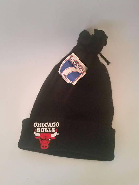 Vintage Chicago Bulls Winter Ski Hat Cap Unworn 90s Logo7 Black Red Michael  Jordan NBA Basketball Sk 92d8d0d07588