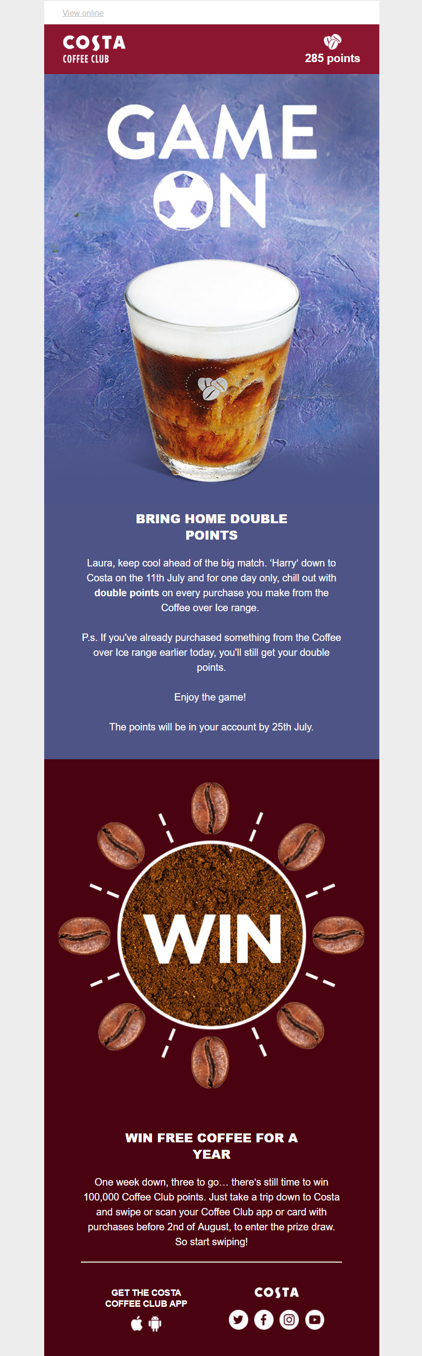 Offer and competition email from Costa Email Marketing