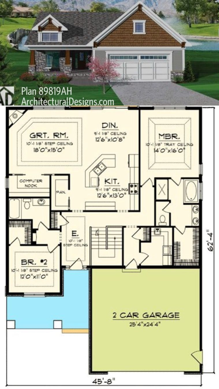 Plan 10044tt Compact Starter Or Retirement Home Plan Retirement House Plans Bungalow Style House Plans Narrow Lot House Plans