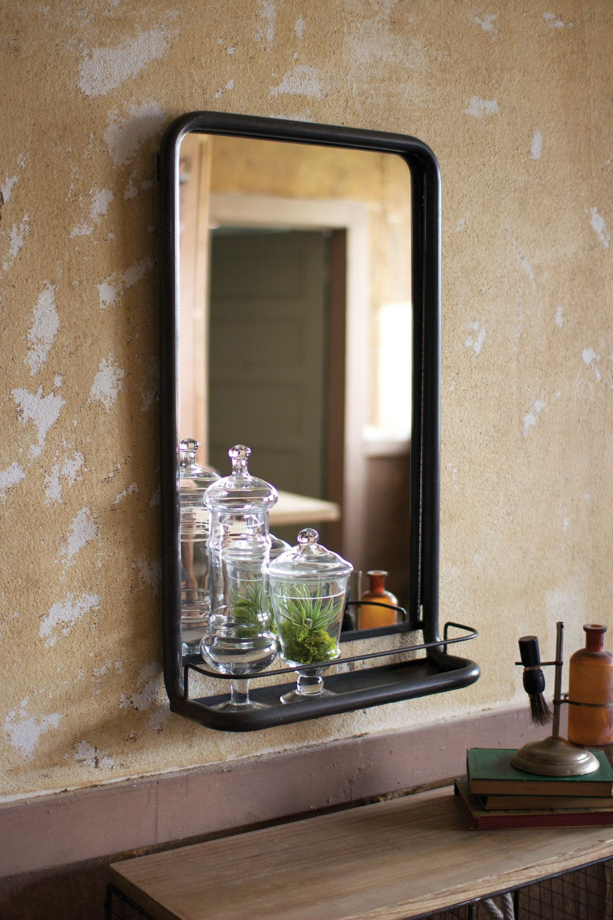 METAL FRAME PHARMACY MIRROR WITH SHELF First of a Kind