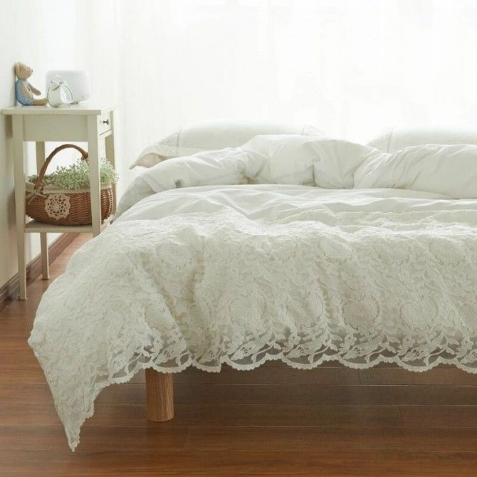 White Embroidery Lace Egyptian Cotton Duvet Cover Set Bed Linens